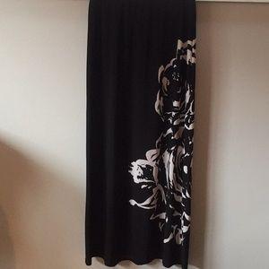 Black & White Floral Maxi Skirt